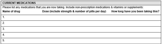 Medical history paper form.