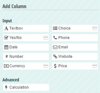 Table field column types.