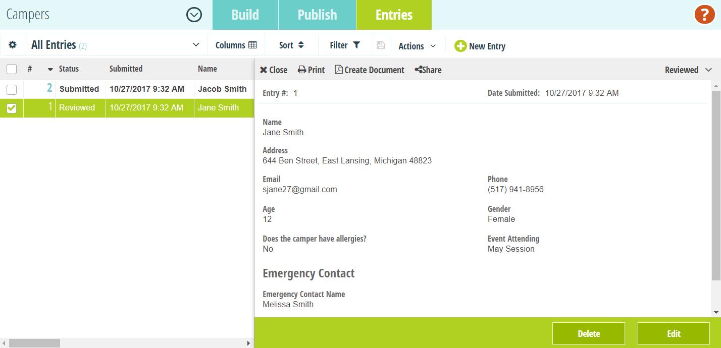 Camper directory form.