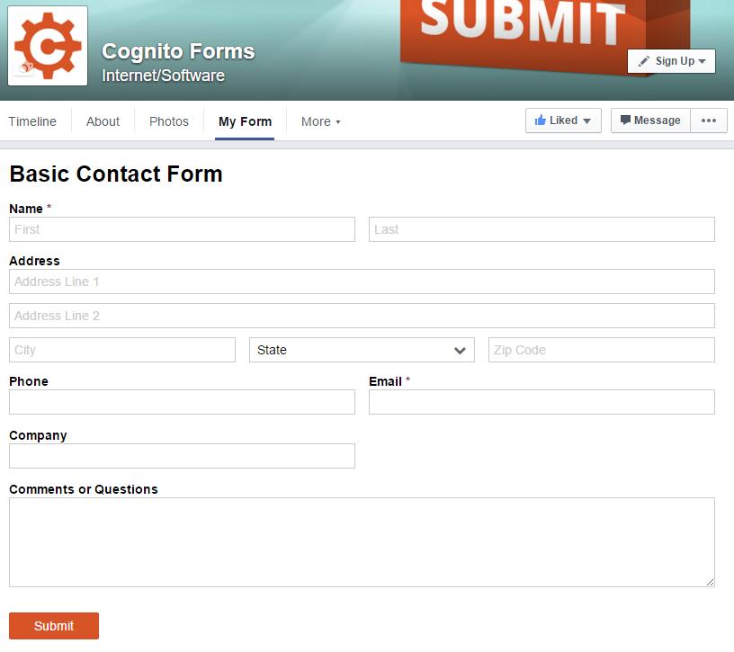 Embedded form in Facebook tab.