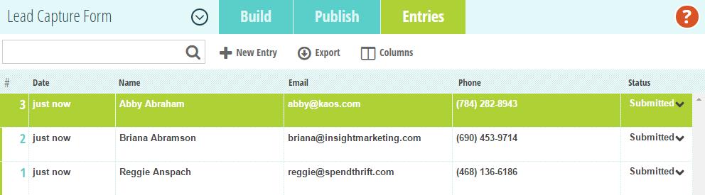 Lead capture form entries.
