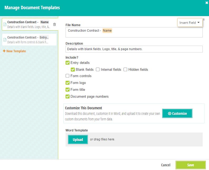Manage Document Templates menu.