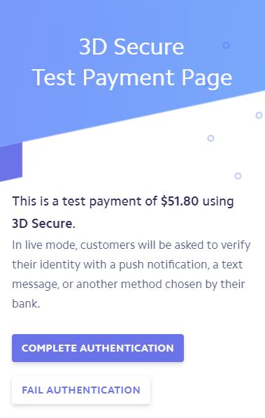 3D Secure Test Payment Page